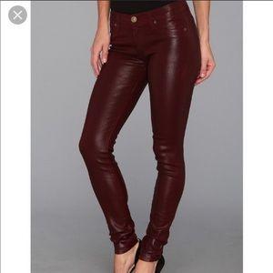 Hudson ankle super skinny leather pants